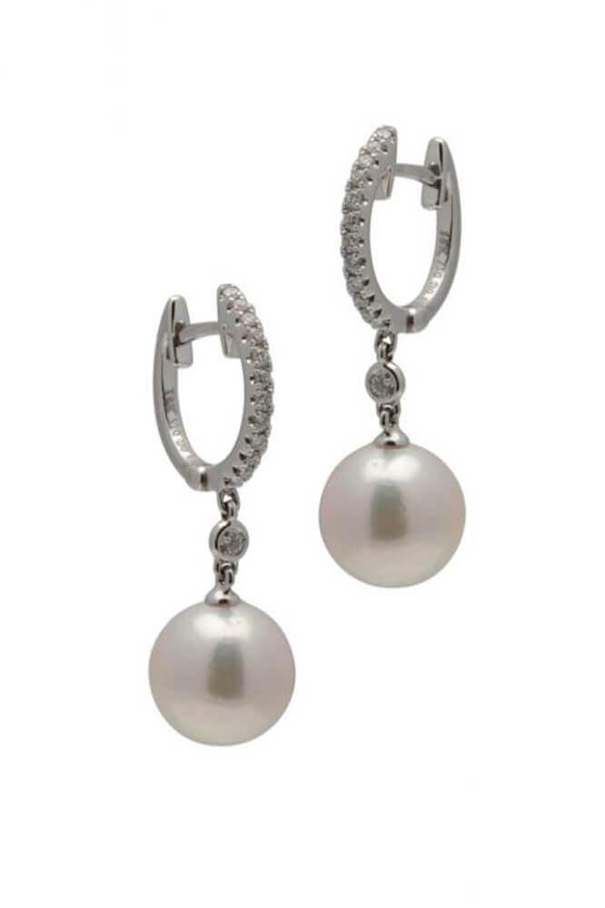 White Akoya Pearl Stud Earrings | 9 ct Gold