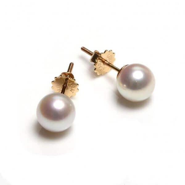 White Akoya Secure Screw Stud Earrings | 18 ct Gold