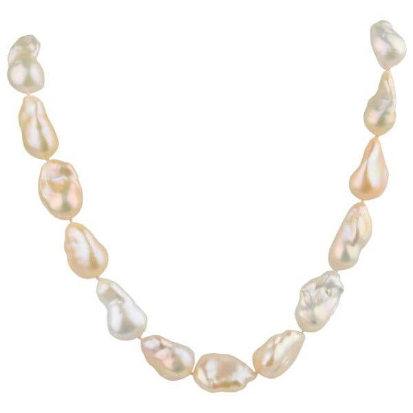 Multi-colour Freshwater Baroque Pearl Necklace|18ct Gold
