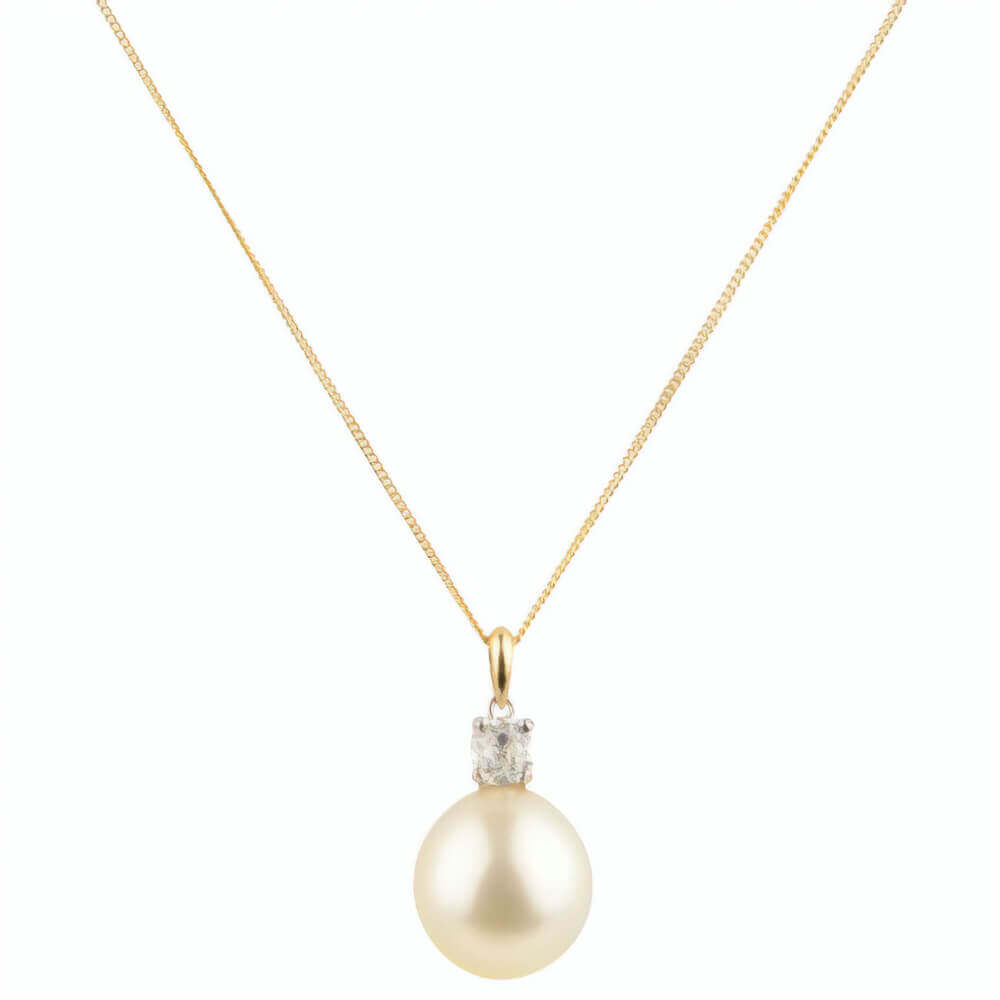 Gold South Sea Pearl & Diamond Pendant | 18ct Yellow Gold