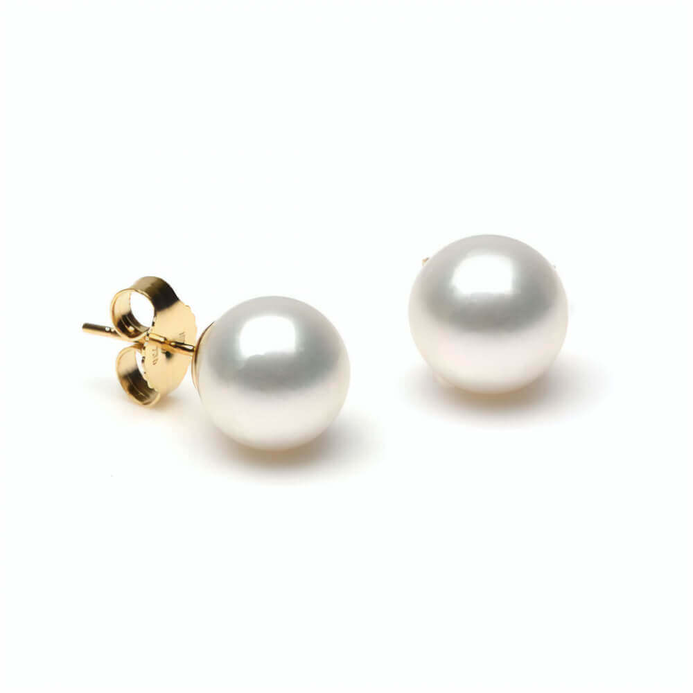 White South Sea Stud Earrings | 18ct Yellow Gold