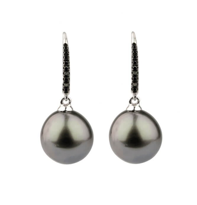 Tahitian Pearl & Black Diamond Set Hook Wire Earrings | 18 ct White Gold
