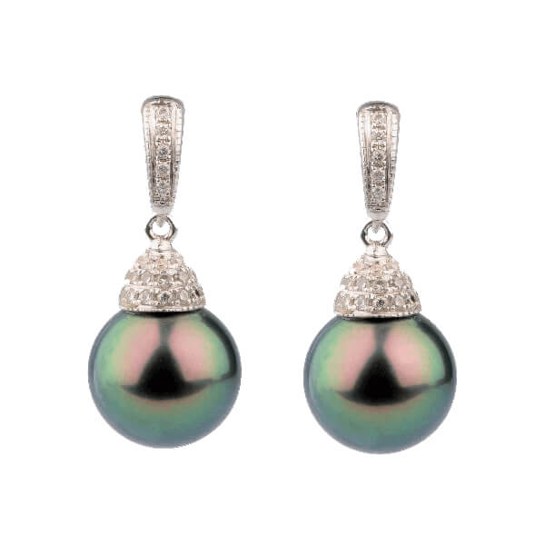 Tahitian Drop Pearl & Diamond Earrings | 18 ct White Gold