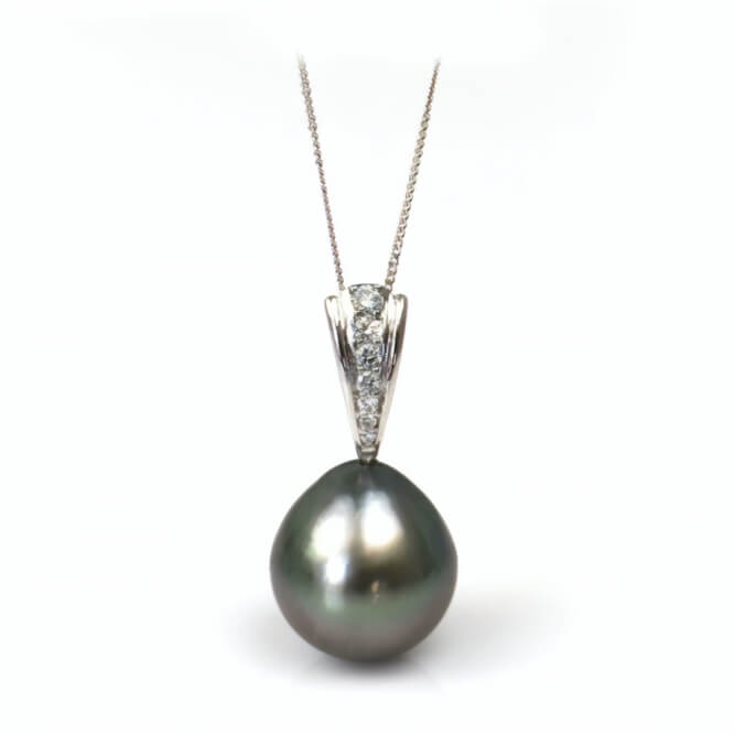 Tahitian Drop Pearl & Diamond Pendant | 18ct White Gold