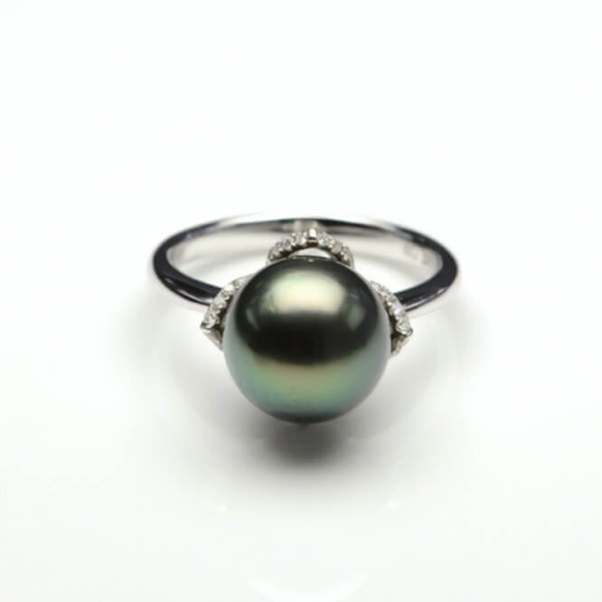 Tahitian Pearl & Diamond Ring | 18ct White Gold