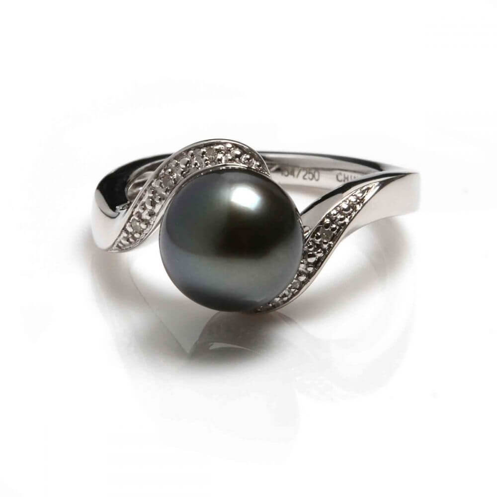 Tahitian Pearl & Diamond Ring | Silver