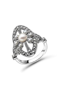 Freshwater Pearl & Marcasite Antique Style Ring | Silver