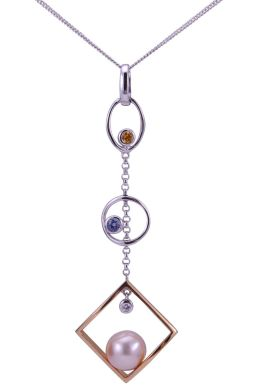 Contemporary Geometric Freshwater Pearl, Diamond & Sapphire Pendant |18ct