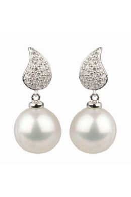 Freshwater Pearl and Diamond Earrings | 18 ct White Gold
