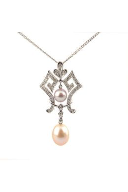 Freshwater Cultured Pearl & Diamond Antique Style Pendant & Chain | 18 ct White Gold