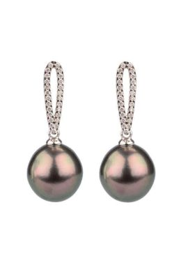 Tahitian Pearl & Diamond Drop Earrings | 18ct White Gold