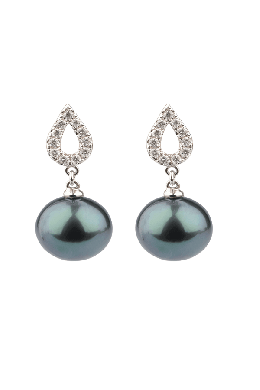 Tahitian Cultured Pearl & Diamond Openwork Motif Earrings | 18 ct White Gold