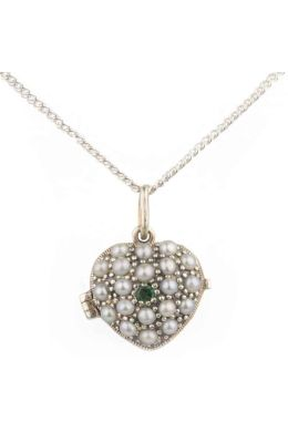 Antique Style Emerald & Seed Pearl Heart Pendant and Chain|Silver