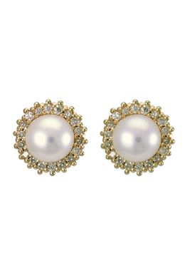 Freshwater Pearl and Diamond Halo Cluster Earrings |9ct Gold