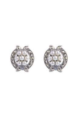 Marcasite and Seed Pearl Earrings|Silver