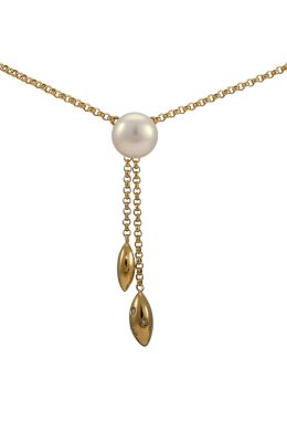 A delightful Negligee Pendant Necklace in 14ct Yellow Gold with Pearl and Diamonds