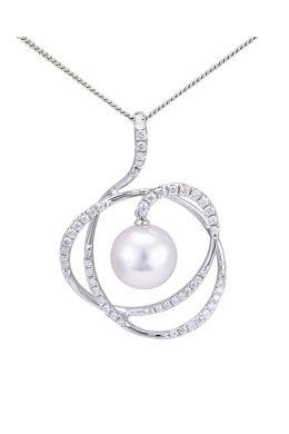 Akoya Pearl Swirling Contemporary Design Pendant | 18ct White Gold