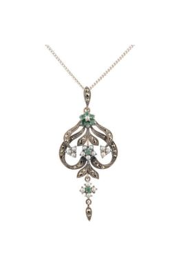 Antique Style Marcasite, Emerald and Seed Pearl Pendant and Chain|Silver