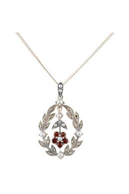 Antique style Garnet, Marcasite and Seed Pearl Pendant|Silver
