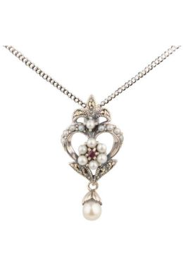 Antique design Seed Pearl,Ruby & Marcasite Pendant and Chain|Silver
