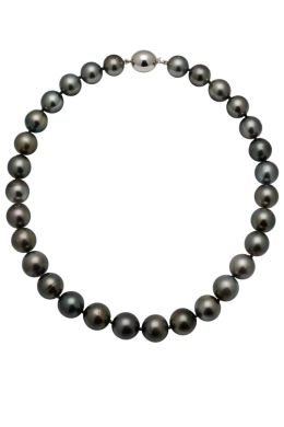 Dark Tahitian Pearl Necklace On White Gold Clasp