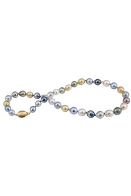 Multi-colour Baroque Tahitian Pearl necklace with 18ct Diamond set clasp