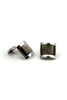 Rectangular Black Mother of Pearl Cufflinks | Silver