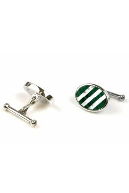 Oval Mother of Pearl and Malachite Cufflinks | Silver
