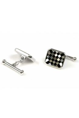 Octagonal Mother Of Pearl and Black Onyx Cufflinks | Silver