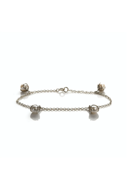 Silver Freshwater Cultured Pearl Charm Bracelet