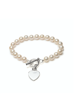 Freshwater Cultured Pearl Heart Toggle Bracelet   Silver