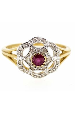 9ct Yellow Gold Antique Style Ruby and Diamond Cluster Ring