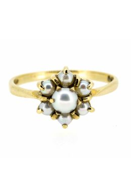 1970s 9ct Yellow Gold Pearl Cluster Ring - main image