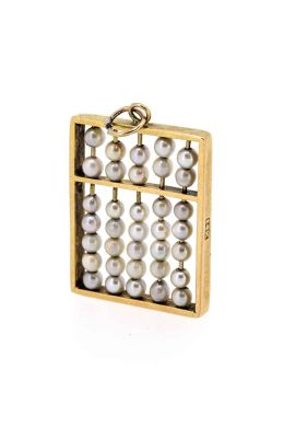 1960s 14ct Yellow Gold Abacus Pearl Charm/Pendant - main image