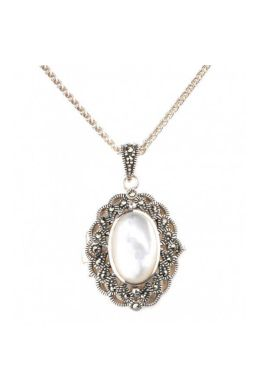 Mother of Pearl & Marcasite Oval Locket/Pendant and Chain|Silver