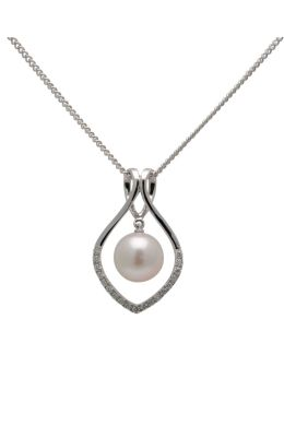Akoya Pearl & Diamond Contemporary Openwork Pendant | 18 ct White Gold