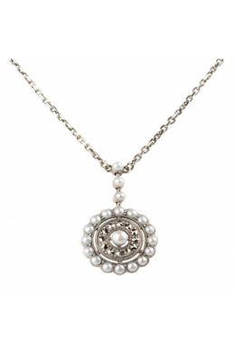 Freshwater Seed Pearl & Marcasite antique style radial cluster Necklace|Silver