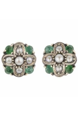 Emerald and Freshwater Seed Pearl Stud Earrings| Silver