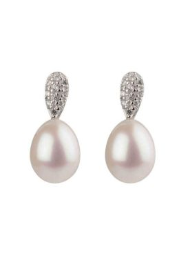 Freshwater Cultured Pearl & Cubic Zirconia Studded Earrings     Silver