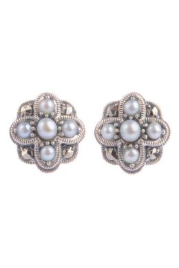 Marcasite and Silver freshener  pearl earrings