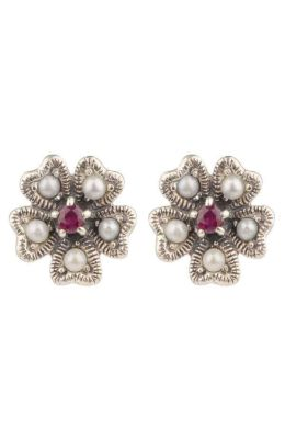 Ruby & Seed Pearl Clover Leaf Motif Stud Earrings|Silver