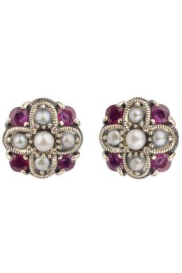 Ruby and Freshwater Seed Pearl Stud Earrings|Silver