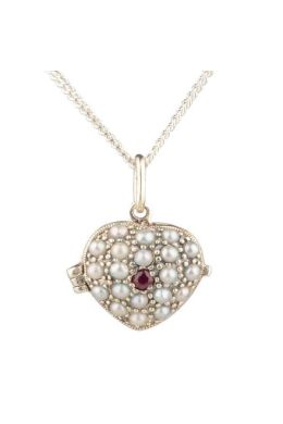 Antique style Ruby & Seed Pearl Heart Pendant | Silver