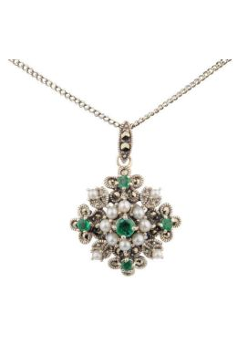 Antique design Seed Pearl,Emerald & Marcasite Pendant and Chain|Silver