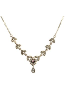 Antique Style Seed Pearl,Ruby & Marcasite Necklace|Silver
