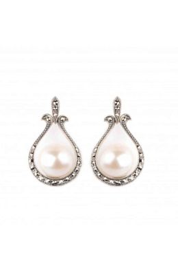 Freshwater Cultured Pearl & Marcasite Vintage Style Looped Earrings | Silver