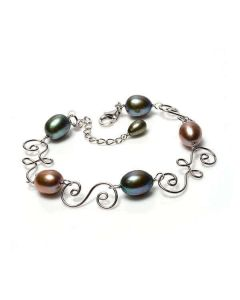 Autumn Multicoloured Freshwater Cultured Pearl Swirl Bracelet | Silver