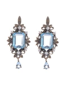 Freshwater Pearl, Blue Topaz & Marcasite Antique design Earrings | Silver