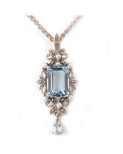 Antique Style Freshwater Cultured Pearl, Blue Topaz & Marcasite Pendant and Chain  |  Silver