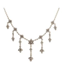 Antique Style Cascading Seed Pearl design  Necklace|Silver